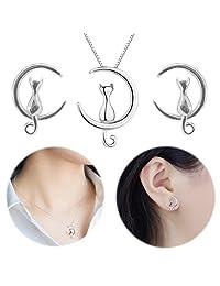 猫月亮耳钉耳环项链迷你耳 crawler climbers crescent 可爱小猫 collarbone 镜子首饰