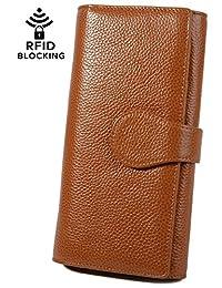 YALUXE 女式 RFID 屏蔽皮革 大手拿包 卡电话支票簿
