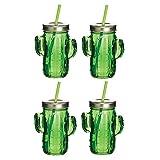BarCraft 热带别致新奇玻璃吸管罐,400毫升 绿色 6.5 x 10.5 x 20 cm AMZBCJARCACTUSSET4