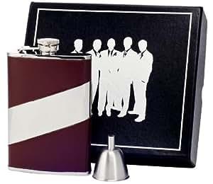 Visol VSET60-2063 Nathan Leather Groomsmen Flask Gift Set, 8-Ounce, Brown