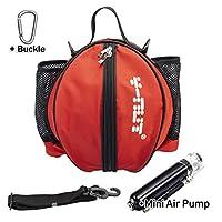Y-Nut 篮球包带口袋尺寸手动空气泵,户外运动篮球背包,非常适合携带篮球、足球、排球、红色