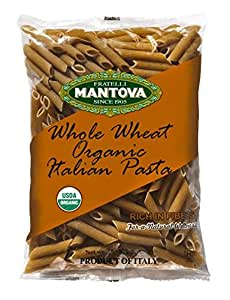 Mantova Italian Organic Whole Wheat Pasta, Penne, 1-Pound Bags (Pack of 12)