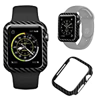 正品碳纤维手表壳 Apple Watch 系列 5/系列 4 44 毫米,耐用防震 iWatch 表壳高光泽/斜纹编织表面(44 毫米)