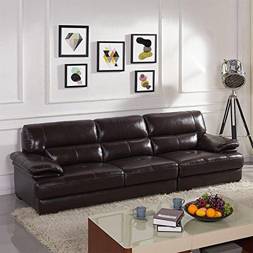 下单赠价值998元真皮圆凳1个左右 真皮沙发 头层牛皮 小户型组合皮艺沙发整装现代客厅皮沙发 DZY2850 四人位 深咖色