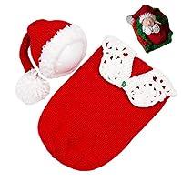 新生儿摄影道具圣诞睡袋婴儿照片拍摄服装钩针编织服装婴儿针织圣诞服装红色