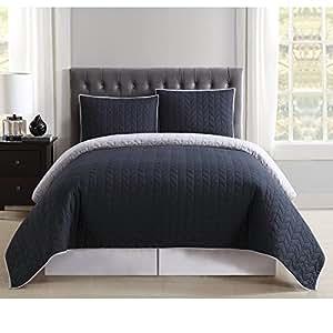 Truly 柔软日常双面被子和枕套迷你套装黑色和灰色双人床/中号双人床 黑色和灰色 Full/Queen QS1684BGFQ-2300