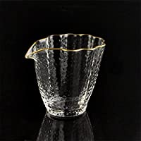 【1212超值促】【任意二件立减10元】AlfunBel艾芳贝儿茶具 日式金边锤纹玻璃荷叶边公杯功夫茶道描金公杯C-85-27-1