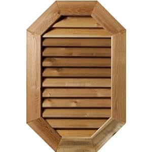 Ekena Millwork GVWOV12X1801RFUPI 未抛光、功能性及粗糙锯齿松木 30.48cm 宽 x 45.72cm 高 垂直加长八角形密封口带 2.54 cm x 10.16cm 平边框