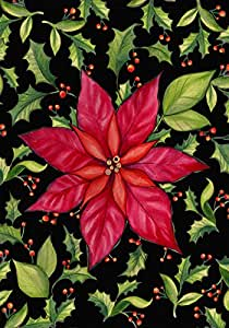 Toland Home Garden Poinsettia 12.5 x 18 Inch Decorative Colorful Red Christmas Flower Holly Leaf Garden Flag