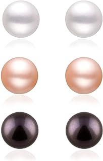 Boxed Set 3 pairs 8mm Genuine Freshwater Cultured Pearl Stud Earrings in 925 Sterling Silver ✦June Birthstone✦