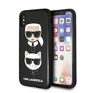Karl Lagerfeld Karl and Choupette PU 浮雕硬壳 iPhone X - 黑色