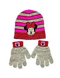 米妮老鼠冬季帽子和手套套装适合女孩,均码