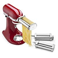 KitchenAid 凯膳怡 料理机厨师机通用配件 压面机和切面器组合套装3件套 KSMPRA(亚马逊自营商品, 由供应商配送)