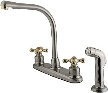 Kingston Brass KB719AXSP 维多利亚高拱厨房水龙头带喷雾,缎面镍,抛光黄铜装饰