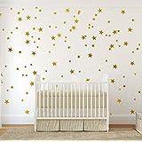 金墙壁贴花星星 ( 123贴花)   易于外皮上的米饼易于 + 保险柜 ON 彩绘 walls   可拆卸金属乙烯基星星装饰  star 贴纸大纸套适用于房 (Metallic Gold)