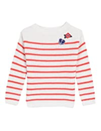 Nautica Girls' Ribbed Sweater with Metallic Stripe and Patches