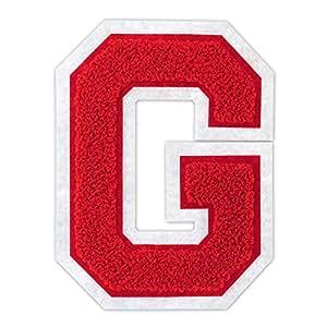 4 1/2 熨烫/热封/缝制雪尼尔大学队字母补丁 适用于 A-Z 红色/白色 G 13072059
