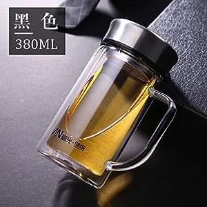 富光玻璃杯双层便携隔热男士保温家用简约泡茶杯随手杯水杯子抖音海洋蓝-380ml1