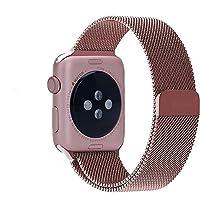 WOOZU 沃卒Apple Watch 表带 轻盈金属质地 磁性搭扣 Apple Watch Series 2 38mm 表带简约典雅米兰38mm表带 Apple Watch Series 3表带(38mm, 玫瑰金)