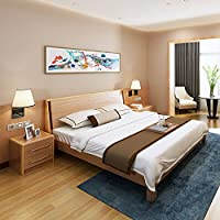 A家家居 实木床1.5米框架+床垫北欧日式原木现代简约卧室储物双人床主卧(亚马逊自营商品, 由供应商配送)