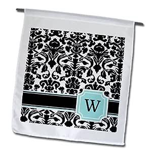 3dRose fl_154372_1 字母 W 个人交织的薄荷蓝黑色和白色锦缎图案经典个性化首字母花园旗,30.48 x 45.72 cm
