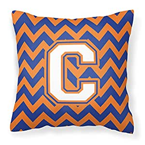 Caroline's Treasures CJ1060-CPW1414 字母 C V 形图案蓝色和橙色 #3 织物装饰枕头,35.56 cm 高 x 35.56 cm 宽,多色
