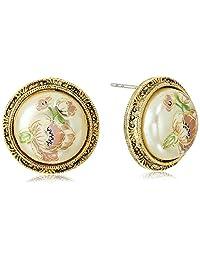 1928 Jewelry 女士金色花朵贴花珍珠圆形纽扣耳钉,1 个