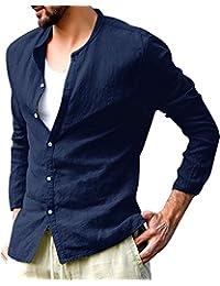 Gemijack 男士休闲长袖纽扣衬衫棉质圆领宽松亨利衫