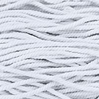 超柔软触感绞花天然棉绳 - 0.64 厘米 - 纯色 - 可选长度为 3.02 米、15.24 米、30.48 米、30.48 米 白色 50 Feet 50 X TCTNI-14WTE-~WCP_SS62018
