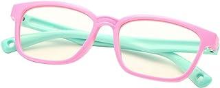 DeBuff 兒童藍色防光眼鏡方形書呆子軟眼鏡架,UV400 防護