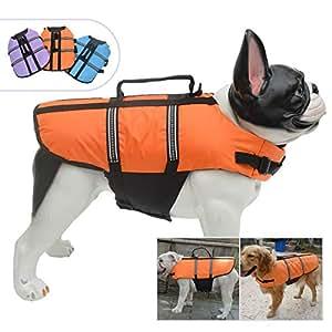 Lovelonglong 宠物服装狗狗救生衣救生衣大中小型犬游泳*划船外套狗狗游泳保护外套 橙色 L (Rec.15-20 Pounds)