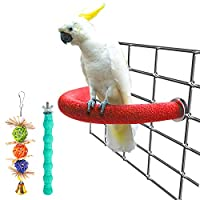 Bac-kitchen U 形鸟栖息地玩具,木质鹦鹉支架平台彩色沙爪磨棒笼子配件锻炼玩具适用于鹦鹉锥形虎尾鹦鹉(1 件套)