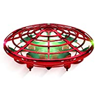 Force1 Scoot 手動無人機-免提迷你無人機,簡易室內小型UFO飛球無人機玩具 適合兒童(男孩和女孩)和成人(紅色)