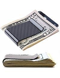 [真碳纤维] 男式纤薄铝钱包 带钱夹 RFID 屏蔽