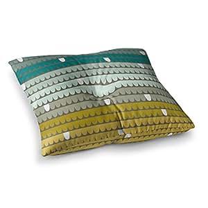"""KESS InHouse Pellerina 设计""""青色扇贝""""蓝色水蓝色方形地板枕 多种颜色 26"""" x 26"""" AH2018BSF02"""