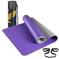 Kansoon 凯速 NBR 加宽加厚 双色瑜伽垫 环保无味 防滑防撕裂 高密度高品质家用健身瑜伽垫 EA035 紫灰色