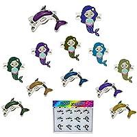 FROG SAC 12 件套美人鱼和海豚情绪戒指托盘适用于女孩、儿童、过渡 - 可爱变色戒指套装 - 派对喜爱、圣诞节礼物、儿童趣味情饰品 Mermaids & Dolphins