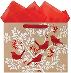 The Gift Wrap Company HALF9650-04 Vogue Recycled Bag (6 Pack), Cardinal Bough, Red/White