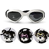 Petleso 宠物护目镜,时尚狗太阳镜,防紫外线防水防风防雾眼保护 白色
