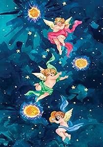 Toland Home Garden Cherubs 12.5 x 18 Inch Decorative Colorful Celestial Winged Angel Star Garden Flag