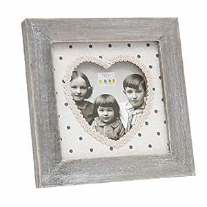 Deknudt Frames s67ta1 带木质心形相框装饰 8 x 8 cm 灰色