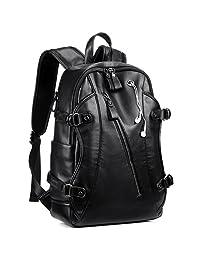 皮革背包,KISSUN 15.6 英寸商务PU柔软皮革防盗背包适用于男士学院书包笔记本电脑包,PU 皮革旅行背包,带耳机端口