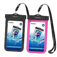 MOKO [ 2包 ] 通用防水手机保护套带臂带 & 领肩带适用于设备和配件 UP TO 15.2cm Black & Magenta 2组