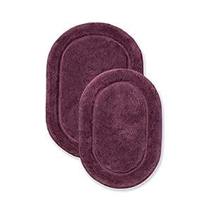 Superior Oval 防滑沐浴地毯套装,棉花,铁锈色,2 件 梅红色 5.0999999999999996x30.5x45.7 cm BATHRUG-OV2PC-PL