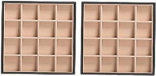 Glenor Co 可堆叠珠宝托盘收纳盒 - 2 个可堆叠托盘 - 32 个插槽 - 皮革设计 - 黑色