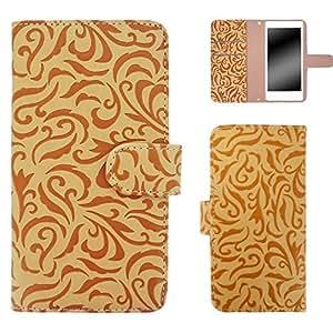 白色边框手机保护壳翻盖式 トライバルエンボス  米黄色 5_ ARROWS S EM01F