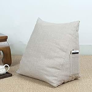 Addoil 可拆卸三角形床头靠背 全棉帆布大靠垫 防滑床头单人靠枕(简约米40*40 * 23cm)
