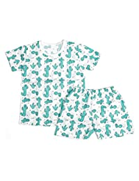 OllCHAENGi 婴幼儿 男童 女童 棉 睡衣套装 短袖 18M-12Y 仙人掌