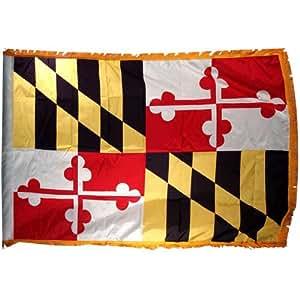 Online Stores 马里兰尼龙旗帜带室内旗杆下摆和流苏,3 x 5 英尺