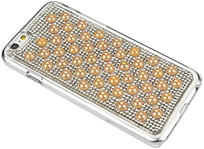 """Reiko Deluxe Pearl Rhinestone Protect Cover for iPhone 6 4.7"""" - Retail Packaging - Gold"""